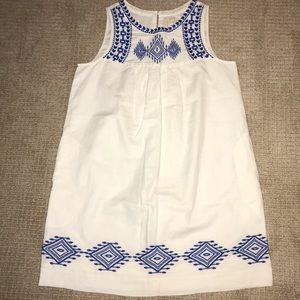 JCrew Factory white tunic dress w/ blue embroidery